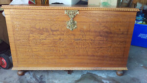 Georgeous , unique Italian hand carved , cedar hope chest,