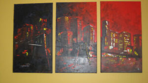 Large original picture painted with a palette knife, signed