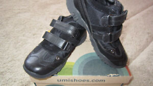 UMI black leather boys boots size 12