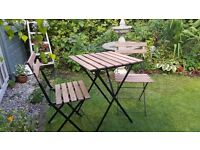Wooden Folding Bistro Table & Chairs