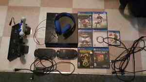 Play station 4 with a psvita systems headset with stand