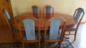 Dining Table with 6 chairs, all blackwood