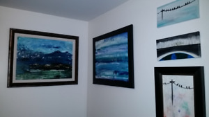MANY ORIGINAL PAINTINGS,VARIOUS SIZES, MOSTLY BLUE- GREAT GIFTS!