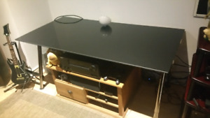 Ikea mirror black table with silver legs