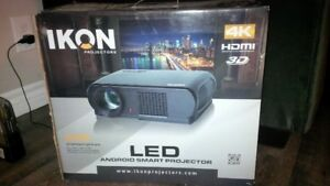 """Brand New IKON Projector TV and 60"""" Screen"""
