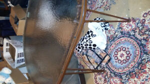 Hauser Wrought Iron & hammered glass table and chairs