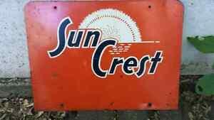 1960s Sun Crest soda pop rack sign