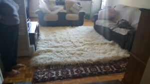 White wool shag rug