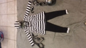 Halloween costume - childs prisoner costume.  Size Med (8-10).