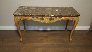 French Provincial Hand Carved Console Table/Server w Marble Top Kitchener / Waterloo Kitchener Area image 2