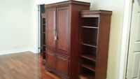 Beautiful Solid Wood TV storage + shelves- $400 + Free Delivery