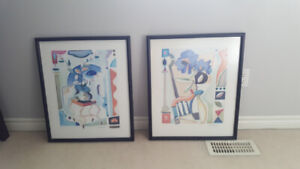 **New Condition**  2 Solid Wood Framed Matching Paintings!!