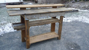 Hand-built kitchen island - made from reclaimed wood