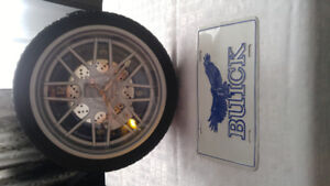Buick lisence plate and wheel clock , collectables .