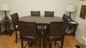 42-inch round 36- inch high dining table with 6 chairs