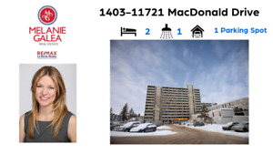 1403-11721 MacDonald Drive AMAZING 14th floor view of the river!