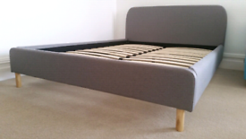 New Geneva Grey Fabric 4ft6 Double Bed Frame only