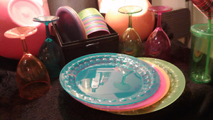 Large Lot of Neon Patio Dishes