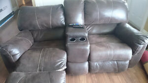 Brown recliner couch and chair with cup holders