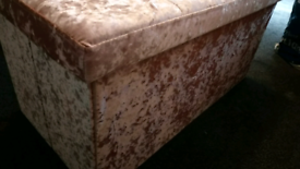 Pink crushed velvet storage ottoman