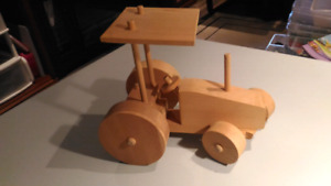 Hand made wooden tractor