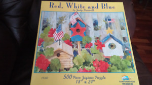500 pc Red White and Blue bird houses