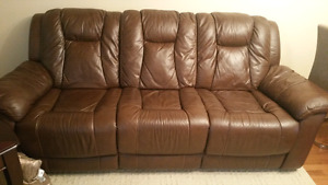 Genuine leather recliner couch and love sit for immediate sale