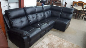 Black leatherlike sectional - Delivery Available