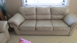 leather love seat and sofa