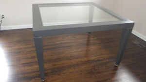 Square Dining Table Metal and Glass