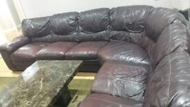 Brown 7 seater corner leather sofas for £750