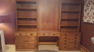 Solid maple Roxton wall units and desk