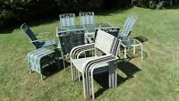 Lg Glass Table & 6 Chairs,2 Stools,Sm Table & 4 Extra Chairs