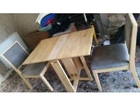 Solid Pine Foldaway Table & x2 Chairs