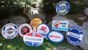 OLD SCKOOL GASOLINE AND MOTORCYCLE SIGNS
