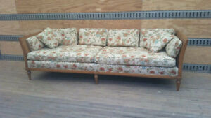 Vintage Hollywood Style Cane Back Couch