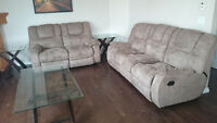 Reclining Couch and Reclining Loveseat Plus Coffee Table