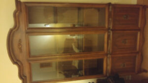 Solid wood china cabinet and hutch