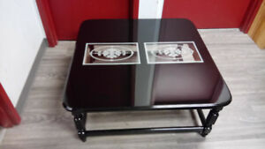 Coffee Table, Glossy Black with engraved glass tops
