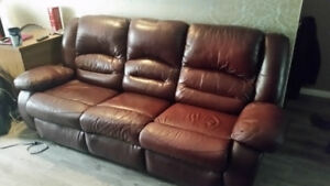 Leather reclining sofa and chair. $150