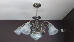 Chandelier with matching flush mount fixture