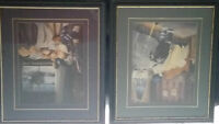 A set of young children's framed hockey pictures