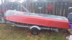 14 ft aluminum boat with trailer and motor