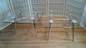 Two Glass Topped End Tables with Chromed Bases