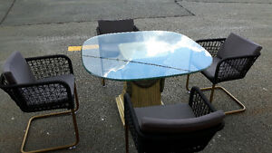 glass dining table and 4 chairs delivery included