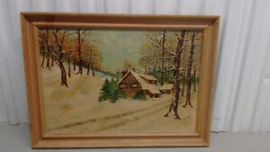Vintage Oil Painting on Board Signed