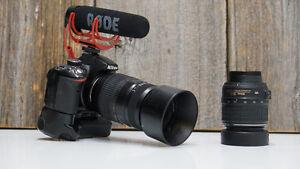 nikon d3200 avec power grip - 2 batterie - rode mic go - 2 lens