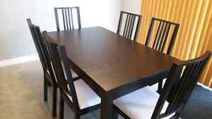 Ikea Bjursta  Extendable Table with 6 chairs