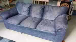 Large plush blue couch