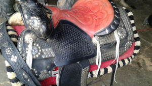 Western silver parade saddle with tapaderos..SALE PENDING